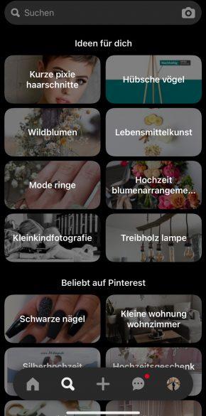 Pinterest's visuelle Suche über die Suchumgebung aufrufen
