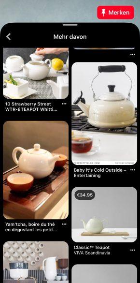 Zweites Suchergebnis mit Vorschlägen für Teekannen